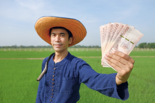 Asian farmer man holding thai banknote money at green rice farm. image focus at banknote and blur face.