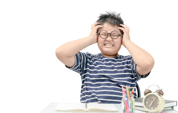 Asian fat boy student stressed by the study isolated