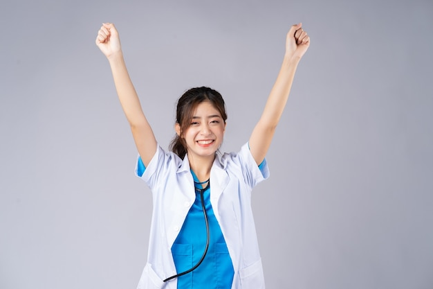 The asian female doctor showed feelings of victory