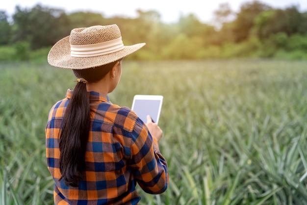 アジアの女性農家が農場でパイナップルの成長を見て、データをタブレットに保存する