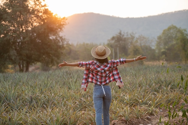 Asian female farmer see growth of pineapple in farm, young pretty farmer woman standing on farmland with arms raised up joyful elated happiness.