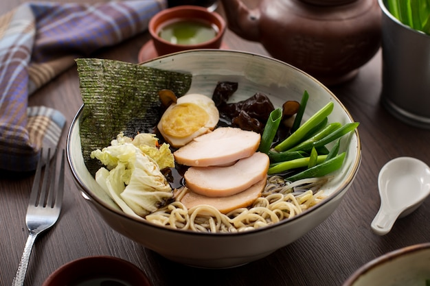 Asian food: chicken and noodle ramen