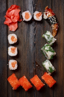 Asian food sushi on wooden table