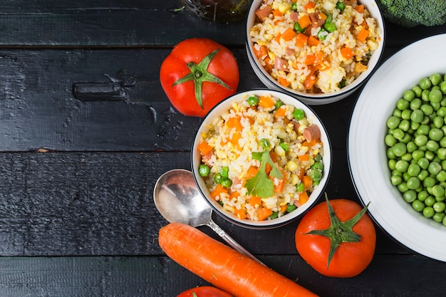 Asian fried rice with eggs