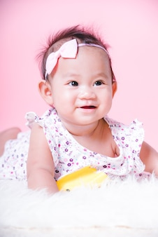 Asian girl cute baby smiling face