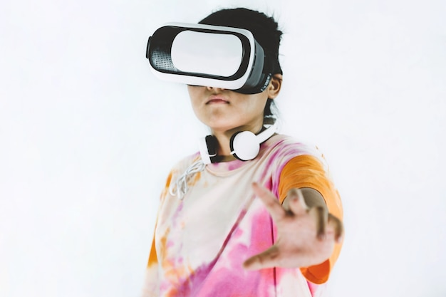 Asian girl excited about vr box experience, virtual reality technology on white background.