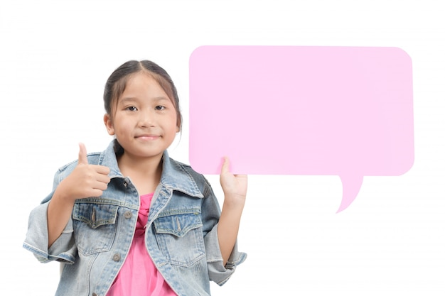Asian girl holding empty speech bubble and showing thumb up