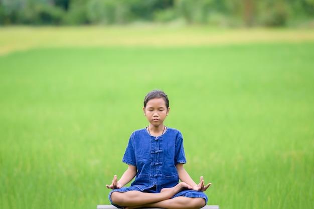 시골에 사는 아시아 소녀 그녀는 시골 태국의 논에서 명상을 합니다. 아시아 소녀는 자연 한가운데 있는 논에서 집에서 온라인 수업을 하기 전에 명상을 합니다.