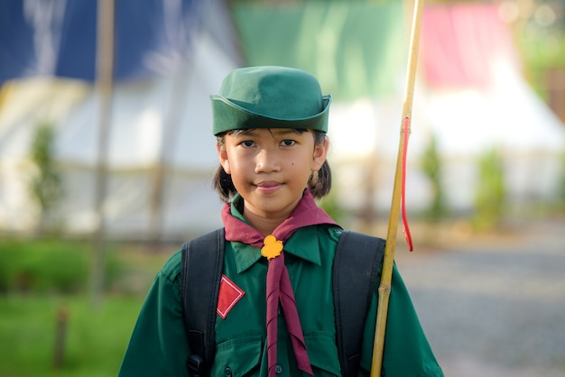 Asian girl scout