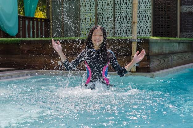 Asian girl swimming