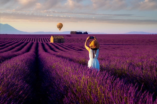 Asian girl travel in lavender field