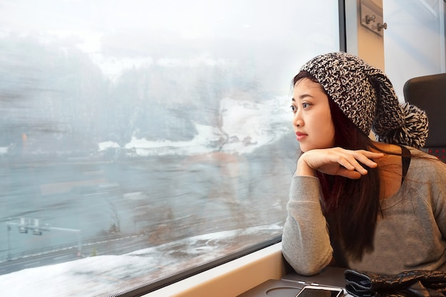 Asian girl traveling by train and looking out to the window with lake and snow background in winter.