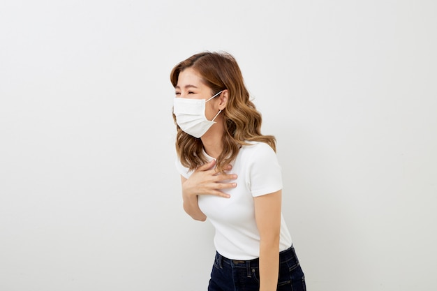 Asian girl wearing protective mask