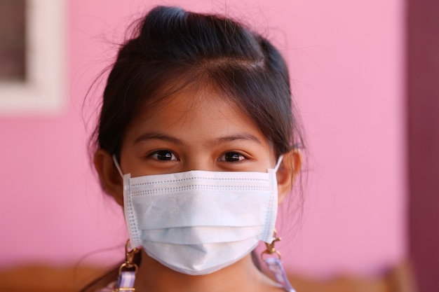 Asian girl wearing a white mask for preventing germs from entering the body through the nose and mouth,concept of preventing the common cold and corona virus.