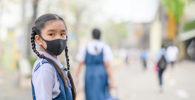 Asian girl wears mask to protect pm 2.5 dust and air pollution