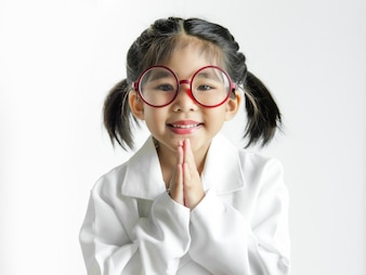 Asian girl with big glasses and science suite action on white screen