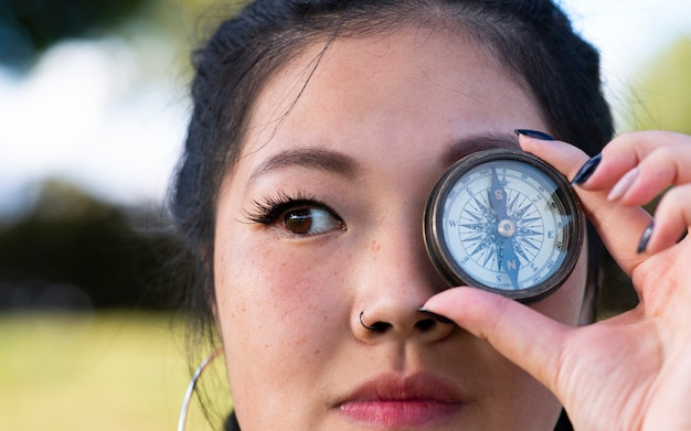 Asian girl with a compass in her eye