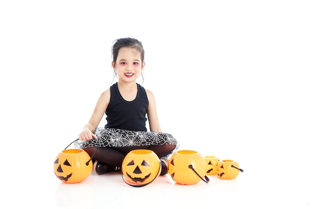 Asian girl with face-paint in halloween