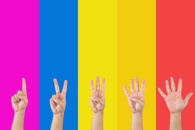 아시아인의 손은 분홍색 파란색 노란색 주황색과 빨간색 섹션 배경과 같은 포화된 무지개에서 손가락으로 1에서 5까지 계산합니다.