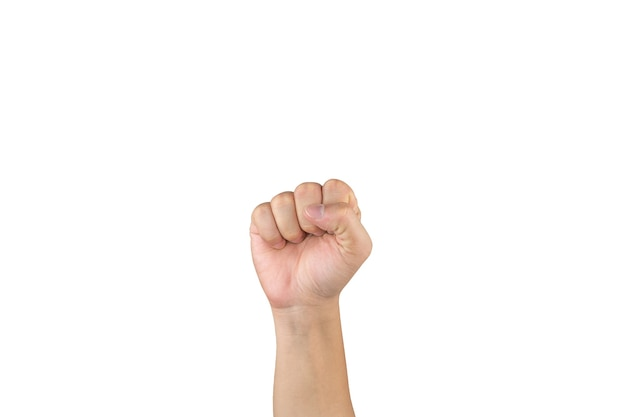 Азиатская рука показывает и считает 0 нулевой палец на изолированном белом фоне. с обтравочным контуром