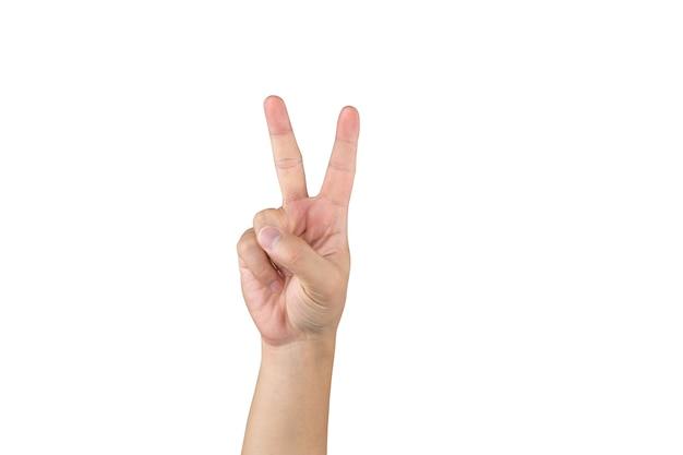 아시아 손은 클리핑 패스를 사용하여 격리된 흰색 배경에 2개의 손가락을 표시하고 계산합니다.