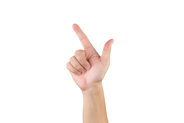 Азиатская рука показывает и считает 7 пальцев на изолированном белом фоне с обтравочным контуром
