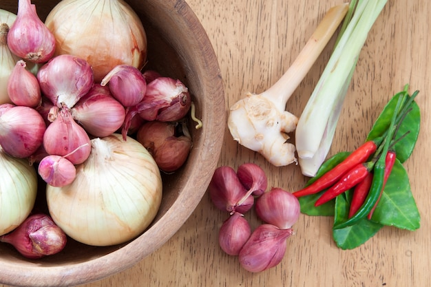Asian hot and spicy food ingredient with onions in wooden bowl, flat lay, top view
