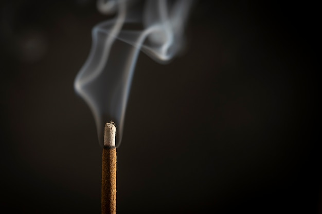 Asian incense stick burning with smoke, close up, macro, copy space