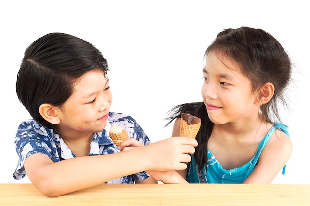 Asian kids are eating ice cream