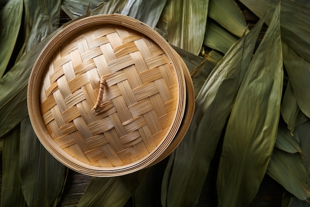 Asian kitchen bamboo steamer for steam cooking