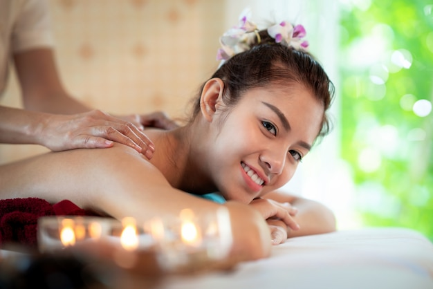 Asian lady in spa shop and relax by thai oil massage