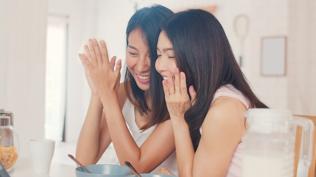 Asian lesbian lgbtq influencer women couple vlog at home