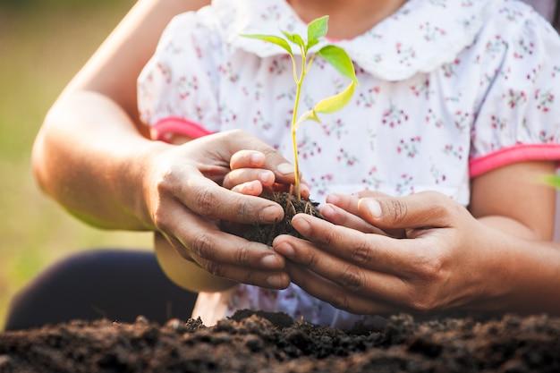 Азиатский маленький ребенок девочка и родитель, держа и сажая молодые саженцы в черной почве вместе