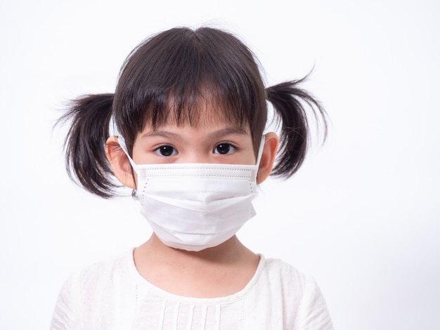 Asian little cute girl 4 years old wearing a hygienic mask to protective spread the corona virus covid-19 cold flu or pollution on white wall.
