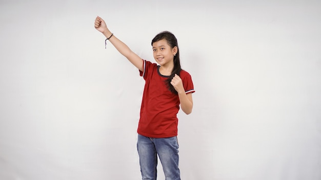 Asian little girl achieve success isolated on white background
