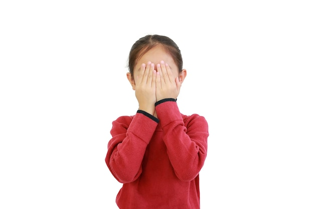 Asian little girl covering eyes with hands on white