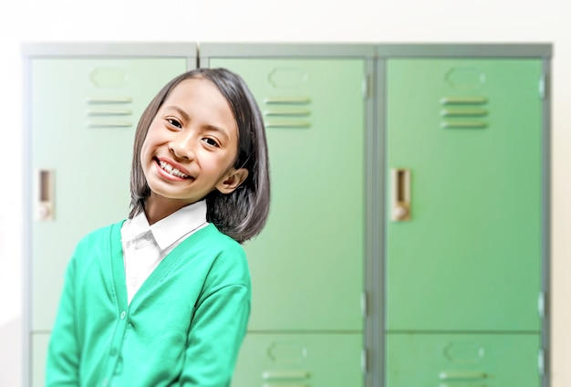 Asian little girl at the school. back to school concept