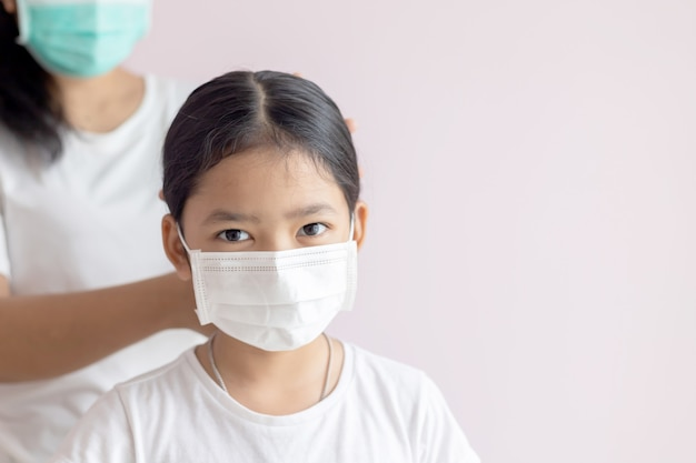 Asian little girl wearing a medical protective mask