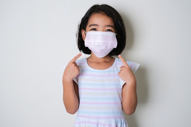 Asian little girl wearing protective medical mask and her fingers pointing on it