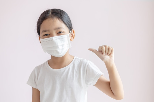 Asian little girl wearing a protective medical mask