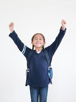 バックパックを持つアジアの少女