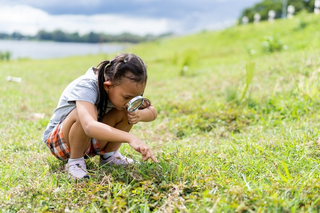 牧草地で昆虫を探している虫眼鏡を持つアジアの少女