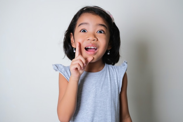 Asian little kid showing surprised face expression