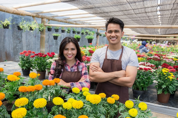Asian male and female florists