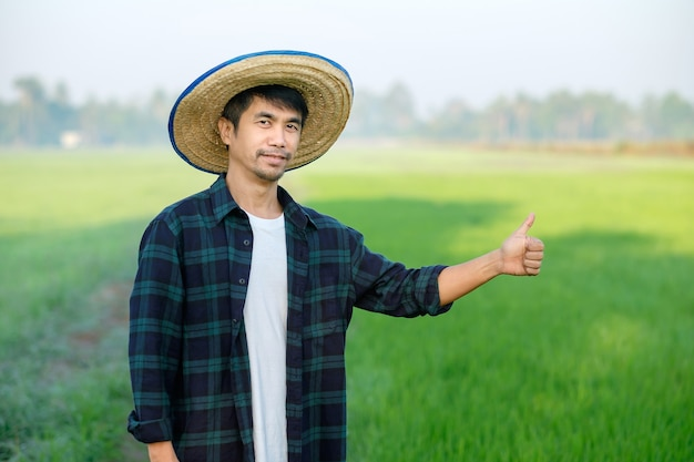 An asian man in a blue striped shirt is standing in a field with thumbs up.