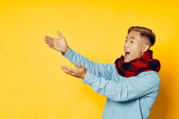 Asian man on bright color background posing model, coronavirus