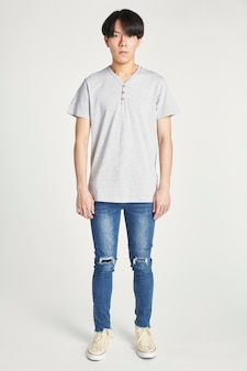 Asian man in a gray t-shirt