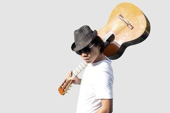 Asian man guitar player
