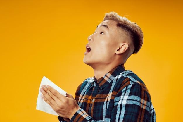 Asian man has flu