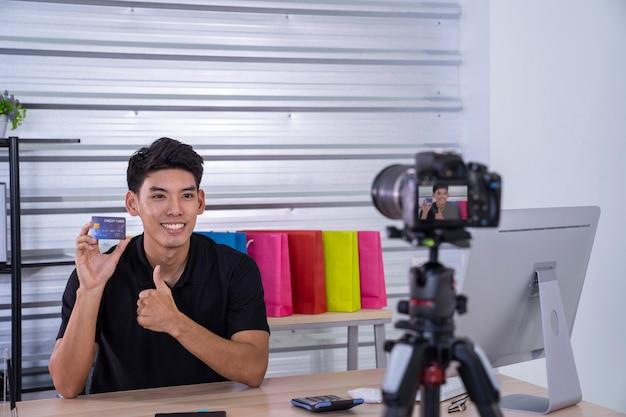 Asian man present to online market